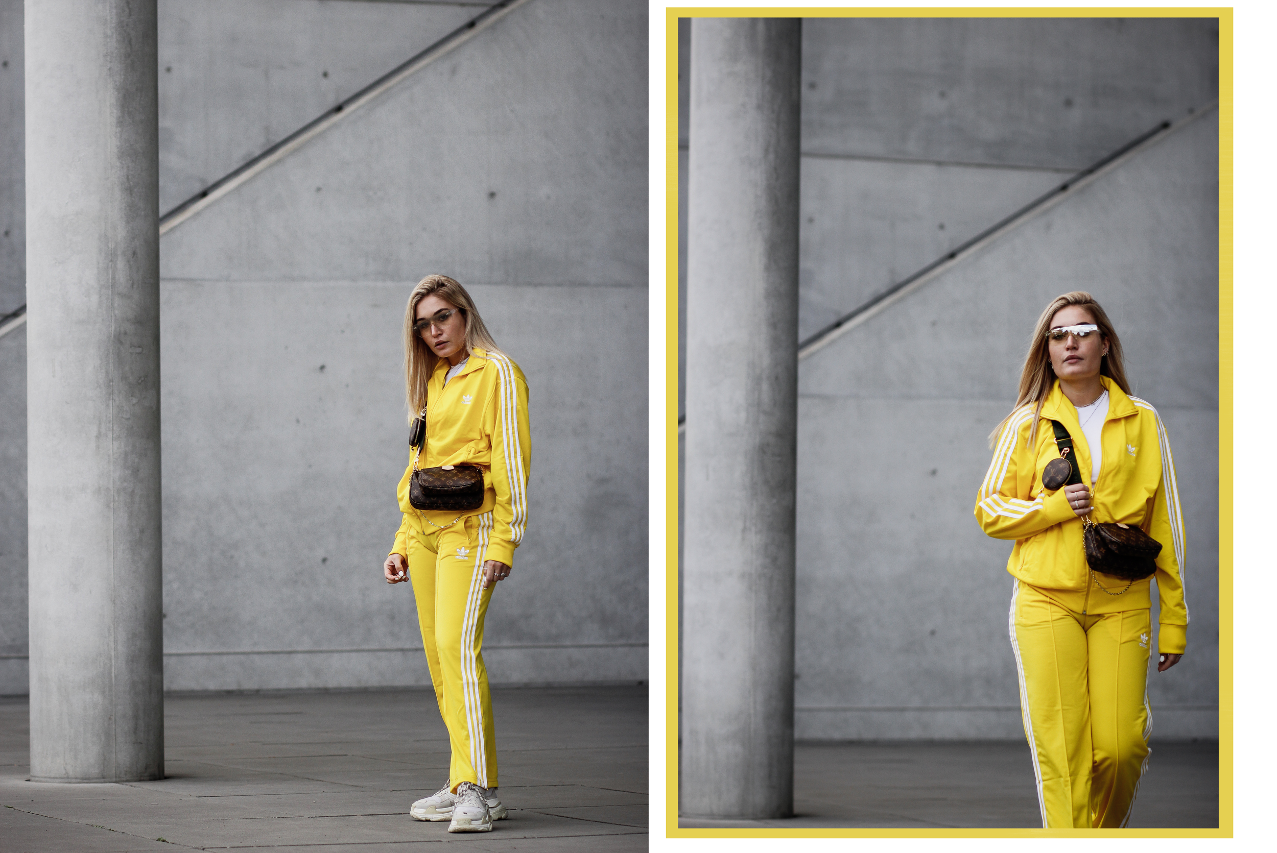 Lauralamode Adidas Outfit Tracksuit Streetstyle Look Outfitoftheday Louis Vuitton Louis Vuitton Multipochette Balenciaga Triple S Munich Berlin Blogger Fashionblogger